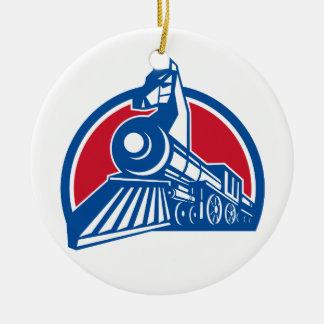 Iron Horse Locomotive Circle Retro Ceramic Ornament