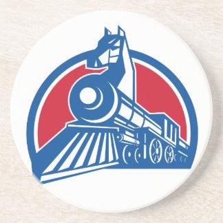 Iron Horse Locomotive Circle Retro Coaster