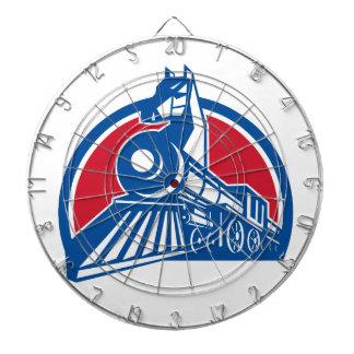 Iron Horse Locomotive Circle Retro Dartboard