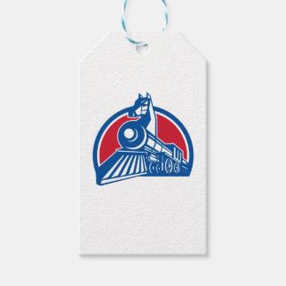 Iron Horse Locomotive Circle Retro Gift Tags