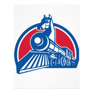 Iron Horse Locomotive Circle Retro Letterhead