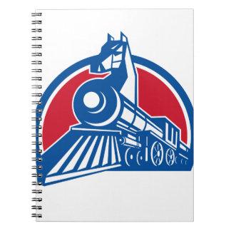 Iron Horse Locomotive Circle Retro Notebooks