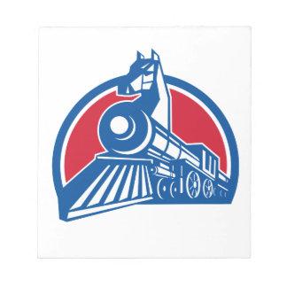 Iron Horse Locomotive Circle Retro Notepad