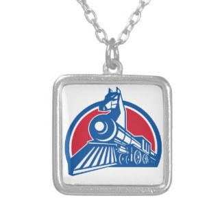 Iron Horse Locomotive Circle Retro Silver Plated Necklace