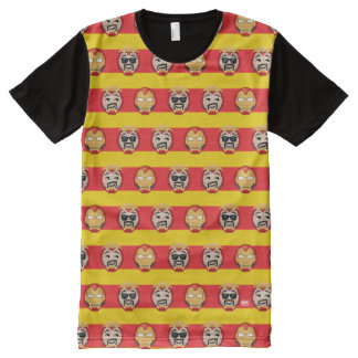 Iron Man Emoji Stripe Pattern All-Over-Print T-Shirt