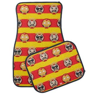 Iron Man Emoji Stripe Pattern Car Mat