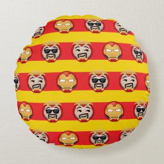 Iron Man Emoji Stripe Pattern Round Pillow