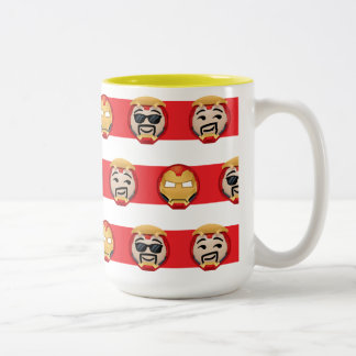 Iron Man Emoji Stripe Pattern Two-Tone Coffee Mug