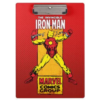 Iron Man Retro Breaking Chains Comic Clipboards