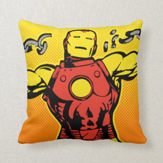 Iron Man Retro Breaking Chains Throw Pillow