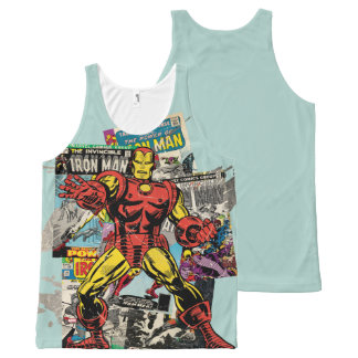 Iron Man Retro Comic Collage All-Over-Print Tank Top