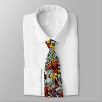 Iron Man Retro Comic Collage Tie