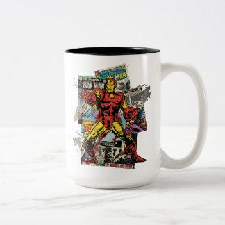Iron Man Retro Comic Collage Two-Tone Coffee Mug