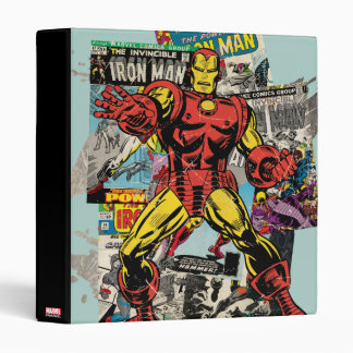 Iron Man Retro Comic Collage Vinyl Binders