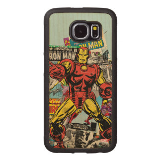 Iron Man Retro Comic Collage Wood Phone Case