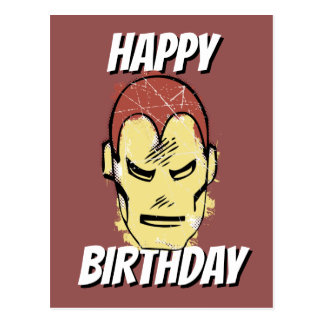 Iron Man Retro Comic Halftone Head Postcard