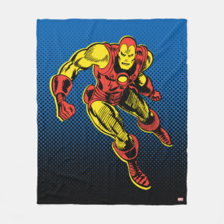 Iron Man Retro Flying Fleece Blanket