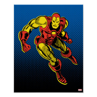 Iron Man Retro Flying Poster