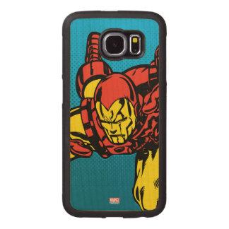 Iron Man Retro Grab Wood Phone Case