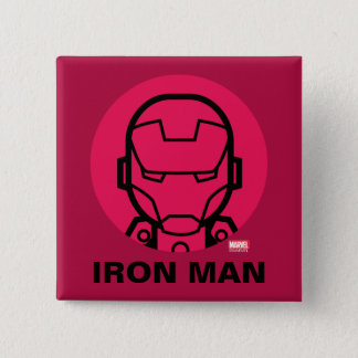 Iron Man Stylized Line Art Icon 2 Inch Square Button