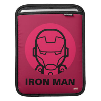Iron Man Stylized Line Art Icon Sleeves For iPads