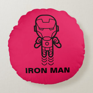 Iron Man Stylized Line Art Round Pillow