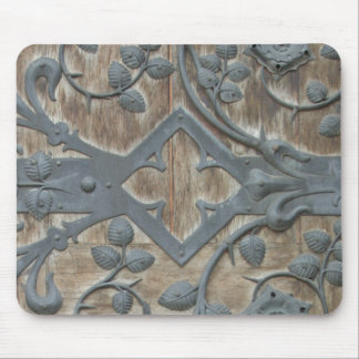 Iron Medieval Lock on Wooden Door Mouse Pad