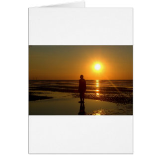 Iron Men Sculpture at Sunset, Crosby, Liverpool UK Card