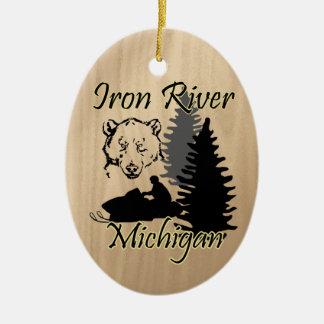 Iron River Michigan Snowmobile Bear Ceramic Ceramic Ornament