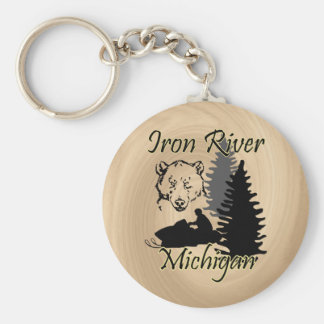 Iron River Michigan Snowmobile Bear Wood Look Keychain