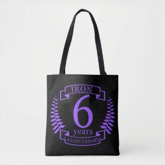 Iron wedding anniversary 6 years tote bag