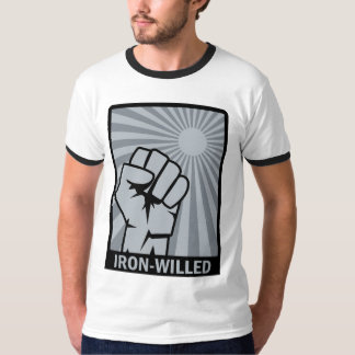 Iron-Willed - Fist - Rising Sun Ringer-T-Shirt. T-Shirt