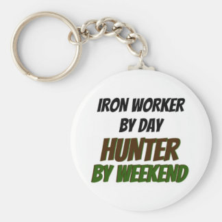 Iron Worker by Day Hunter by Weekend Basic Round Button Keychain