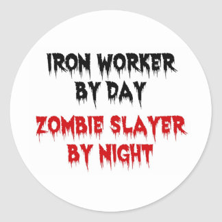 Iron Worker Zombie Classic Round Sticker