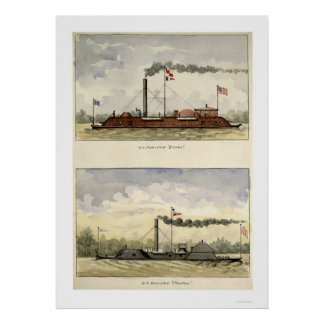 Ironclads Essex and Choctaw by Stouffer 1864 Poster