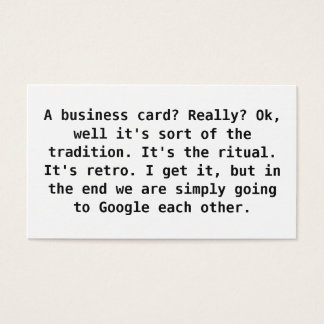 Ironic business card