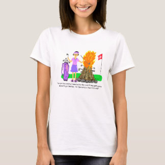 Irons in the Fire Golf Cartoon Ladies Tee Shirt