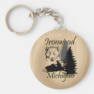 Ironwood Michigan Snowmobile Bear Wood Look Basic Round Button Keychain