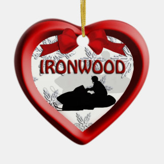 Ironwood Michigan Snowmobile Heart Ornament