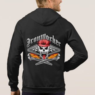 Ironworker Skull 2.1 and Flaming Spud Wrenches Hoodie