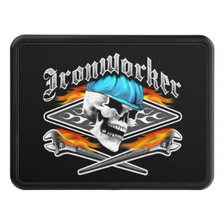 Ironworker Skull and Flaming Wrenches Tow Hitch Cover