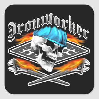 Ironworker Skull and Spud Wrenches Square Sticker