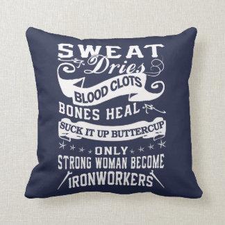 Ironworker Woman Throw Pillow