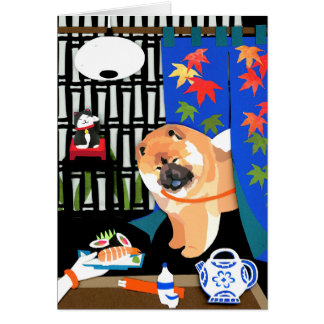 IRRASHAIMASE Chow papercut Card