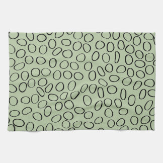 Irregular Black Circle Pattern on Green Kitchen Towel