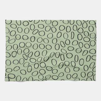 Irregular Black Circle Pattern on Green Towels