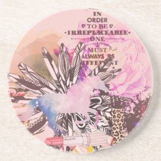 Irreplaceable, quirky kitsch girly art. coaster