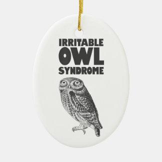 Irritable Owl. Funny pun Ceramic Ornament