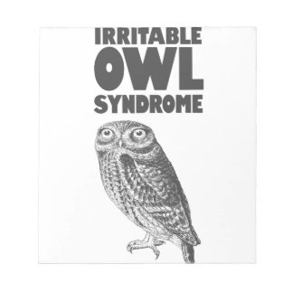 Irritable Owl. Funny pun Notepad