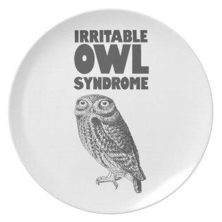 Irritable Owl. Funny pun Plate